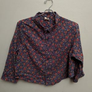 Free People Cropped Floral Button Down Shirt
